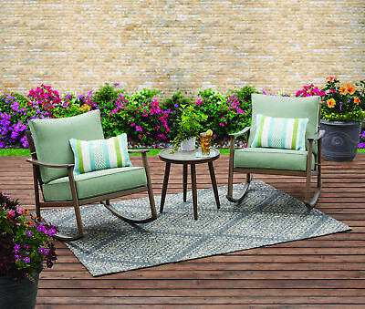 3 Piece Blue Cushion Rocking Chair Patio Bistro Set Outdoor Seating -