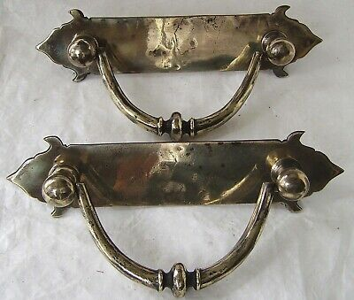DROP HANDLES  ANTIQUE PAIR HARDWARE  FITTINGS  LARGE OLD SUBSTANTIAL BRONZE