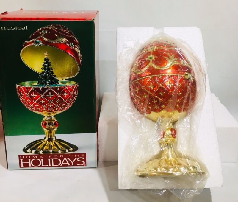 "2003 Home For The Holidays 7"" Rotating Musical Christmas Tree Egg #55357 Red NEW"