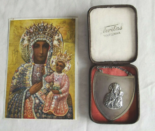Miniature Plaque Our Lady of Czestochowa VERITAS Poland w/Carry Case & FREE Card