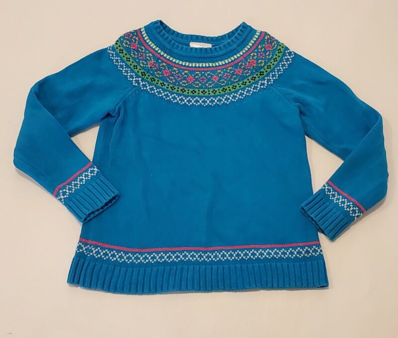 Hanna Andersson Fairy Tale Nordic Sweater Teal Knit Girl 130 size 8 Pink Bright
