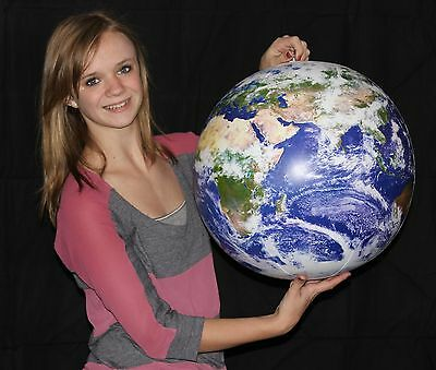 """24"""" Inflatable Earth Globe ASTRONAUTS VIEW - Blowup World Beach Ball w/ Clouds"""