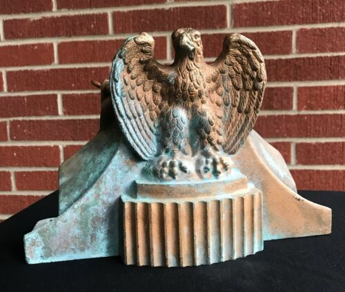 Antique Cast Brass Eagle Architectural Flag Pole Mount or Americana Doorstop