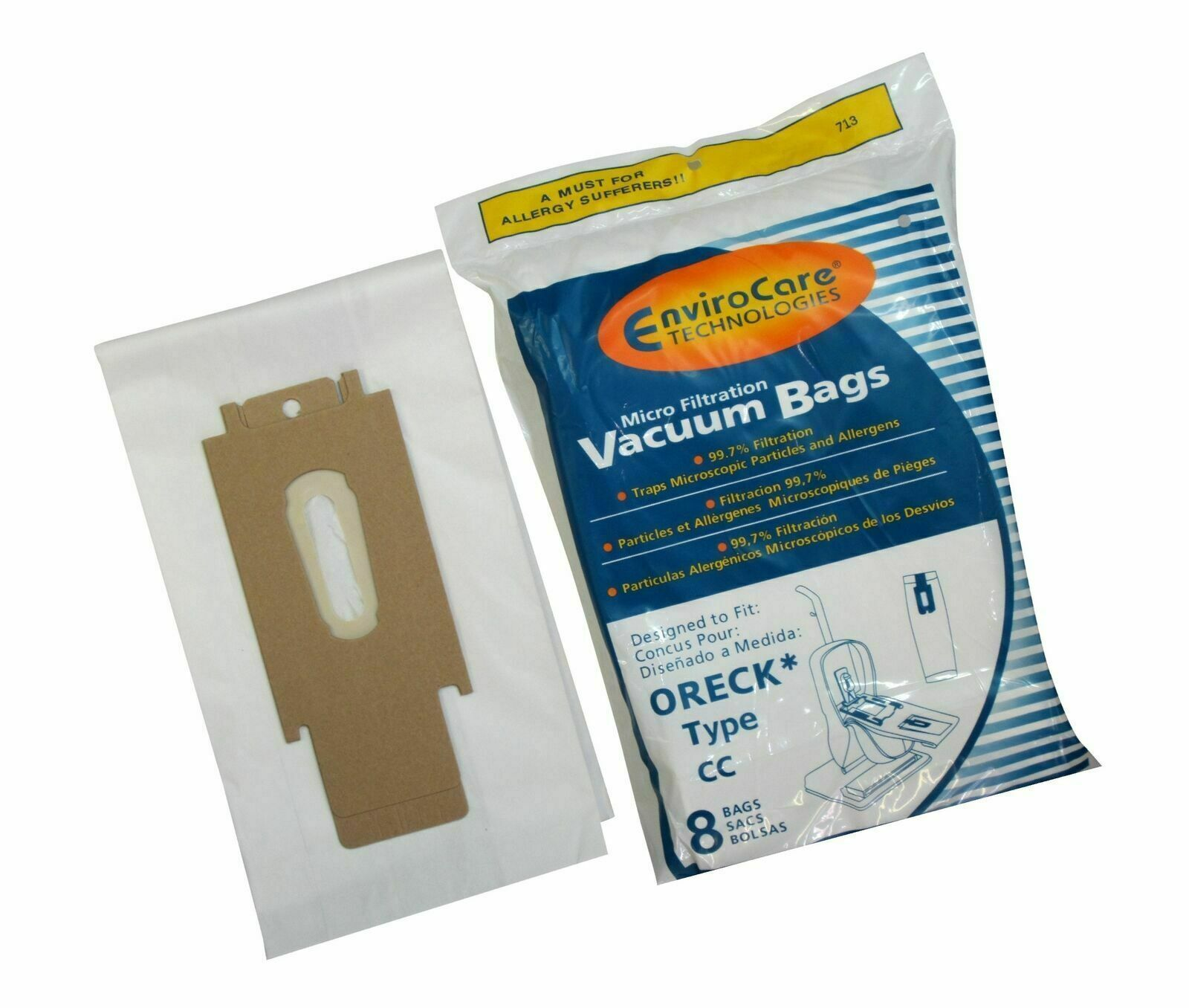 8 Oreck Vacuum Bags Type CC Fits Oreck XL Upright Vacuums Re
