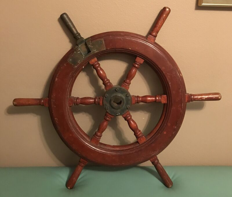 Rare! Antique Ships Wheel Wood & Brass W/ Brass Steering or Suicide Knob!!! 28""