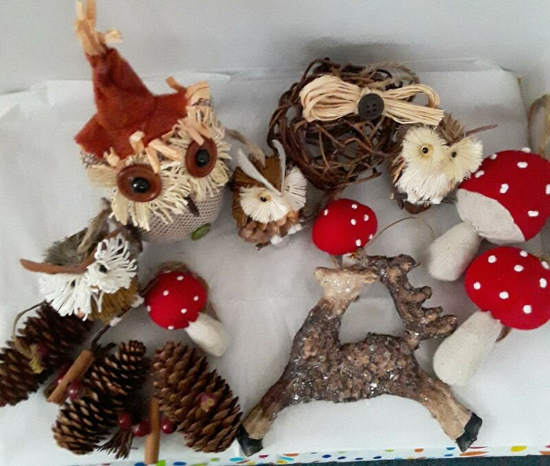 Rustic Owls, Pinecones, Mushrooms, Christmas Ornaments