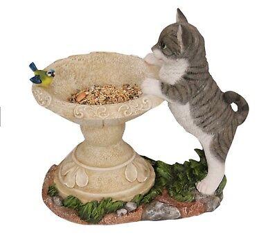 27cm Cat Bird Feeder / Bowl w Stand -Pretty Design Great for Wild Birds or Avery