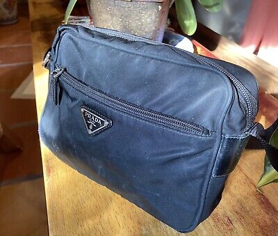 Authentic vintage Prada black nylon tessuto leather crossbody shoulder bag