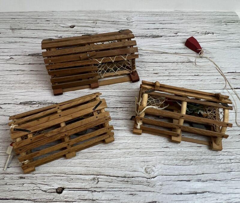 Vtg Lot 3 Miniature Wooden Lobster Traps-Maritimes Nautical Atlantic Ocean Decor