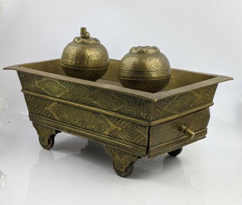 Antique Indonesian Java Brass Sirih Betel Set on Wheels - Engraved FINE C1900