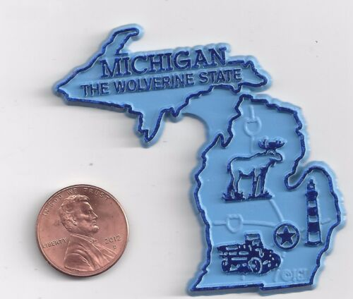 MICHIGAN  MI   THE WOLVERINE   STATE   OUTLINE MAP MAGNET ,   NEW