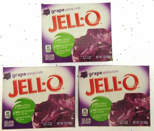 JELL-O ~ Grape ~ Jello ~ 3oz. ea. ~ Lot of 3