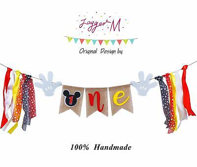 Mickey First Birthday Decorations (Mickey Mouse 1st Birthday Banner Handmade First Birthday Highchair Banner)