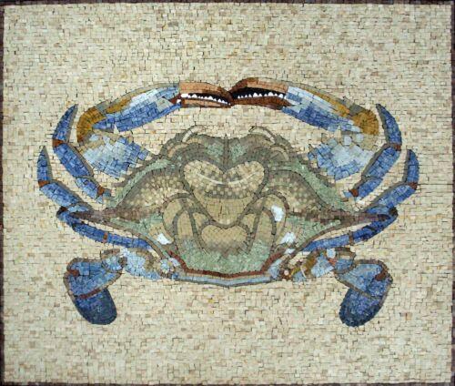 "36""x 28"" Handmade Beautiful Crab Animal Marble Mosaic Stone Art Wall Home Decor"