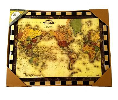 NEW Annie Modica World Map Wall Hanging Wood 20 X 15 Decoupage Black and  Gold