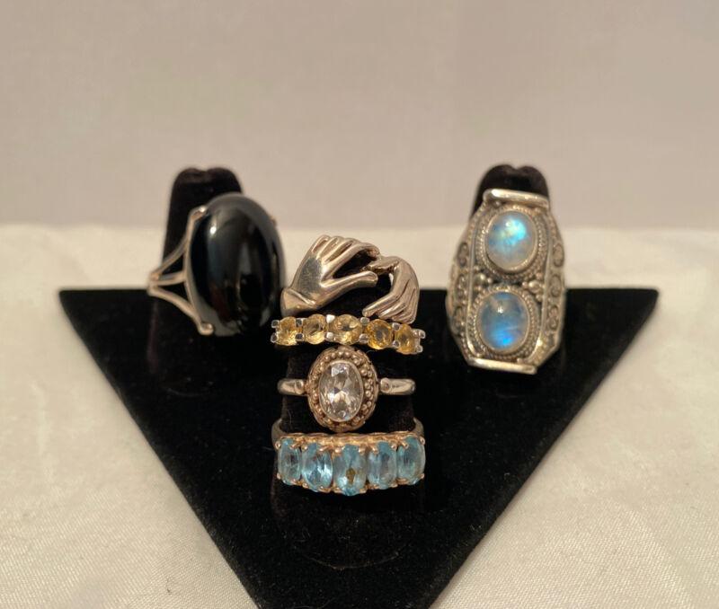 Vintage Sterling Silver Ring Lot Gemstones Band Ornate 6 Rings Not Scrap 32g
