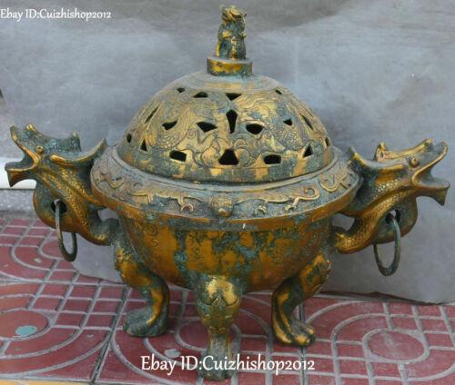 """20 Antique Bronze """"Ware Gilt Dragon Loong Beast Ding of Incense Burner Censer"""