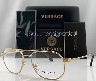 Versace Aviator Eyeglasses VE1252 1428 Gold Metal Frame Clear Demo Lens NEW (Aviator Eyeglasses For Men)