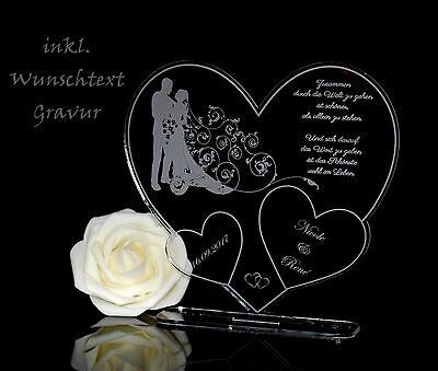 """Aufsteller 3 Herzen """"Paar""""  inkl. Gravur Geschenkidee Hochzeit Valentinstag Love"""