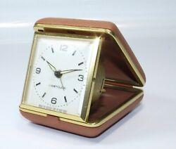 Vintage Westclox Travel Alarm Clock in Brown Folding Case General Time Hong Kong