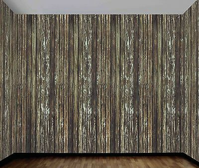 Rotted Wood Wall Backdrop Background Haunted Decoration Plastic Film Camo 20FT  (Filme Halloween 20)