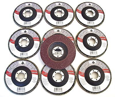 "10 GOLIATH INDUSTRIAL 4-1/2"" FLAP DISCS 180 GRIT FD412180 ANGLE GRINDER WHEEL"