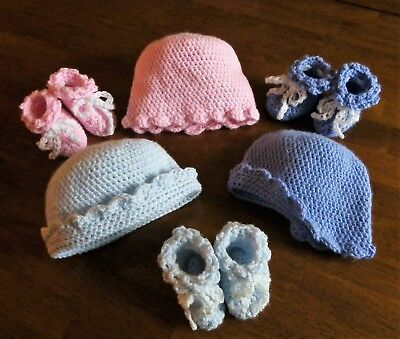 (Handmade Crochet Baby Booties and Hat Set - Choice of color - Free Shipping)