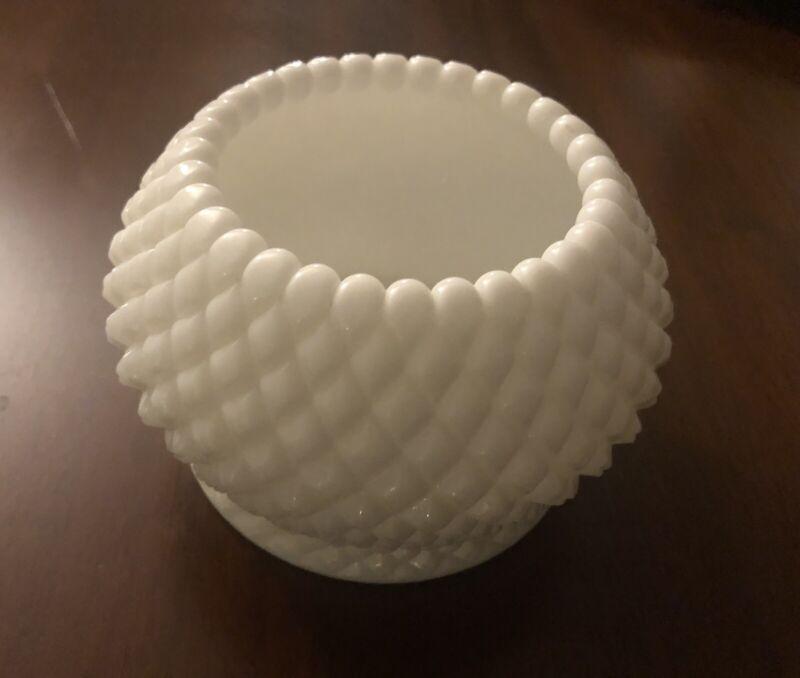 White Diamond Shape Milk Glass Vintage Short Round Vase, Unused