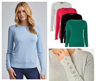 New DOROTHY PERKINS Ladies Women's Button Cuff Fine Knit Sweater Jumper 6 - 20