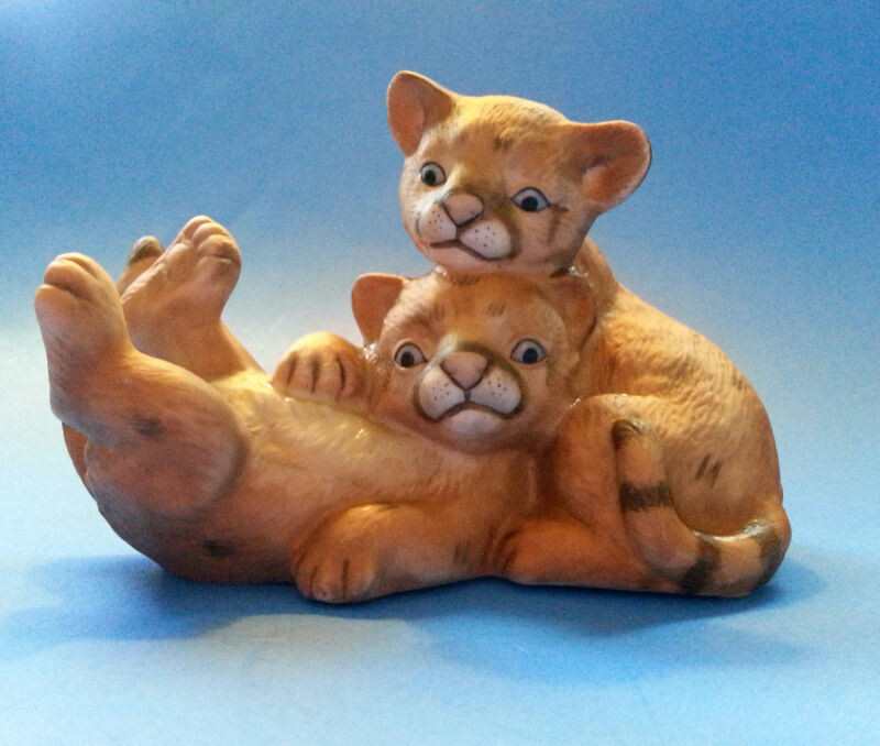 1993 Curious Cougars Baby Cat Cubs Playing Masterpiece Porcelain Figurine HOMCO