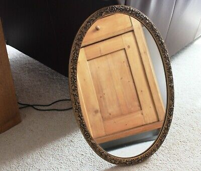 vintage antique shabby chic oval wall mirror gold edging