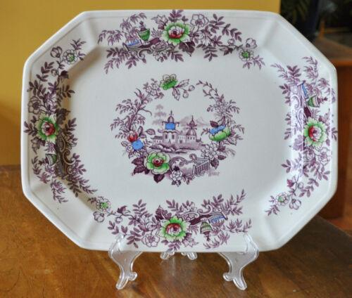 Lovely Antique Purple Transferware Polychrome Ironstone Platter Wedgwood Tyrol
