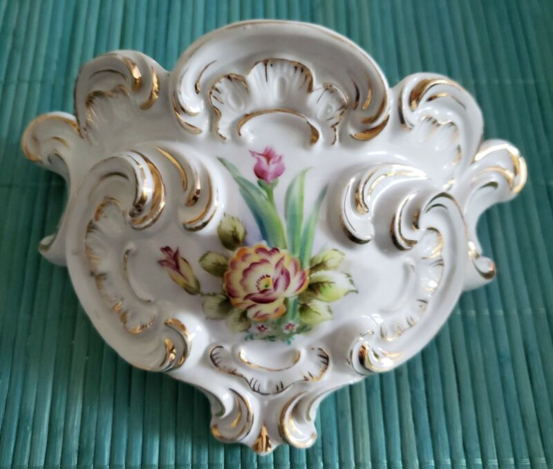 ANTIQUE FRENCH ROCOCO HAND PAINTED PORCELAIN FLORAL WALL POCKET