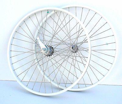"""Beach Cruiser bike 26""""x1.75 Rear & Front Clicher Wheels white"""