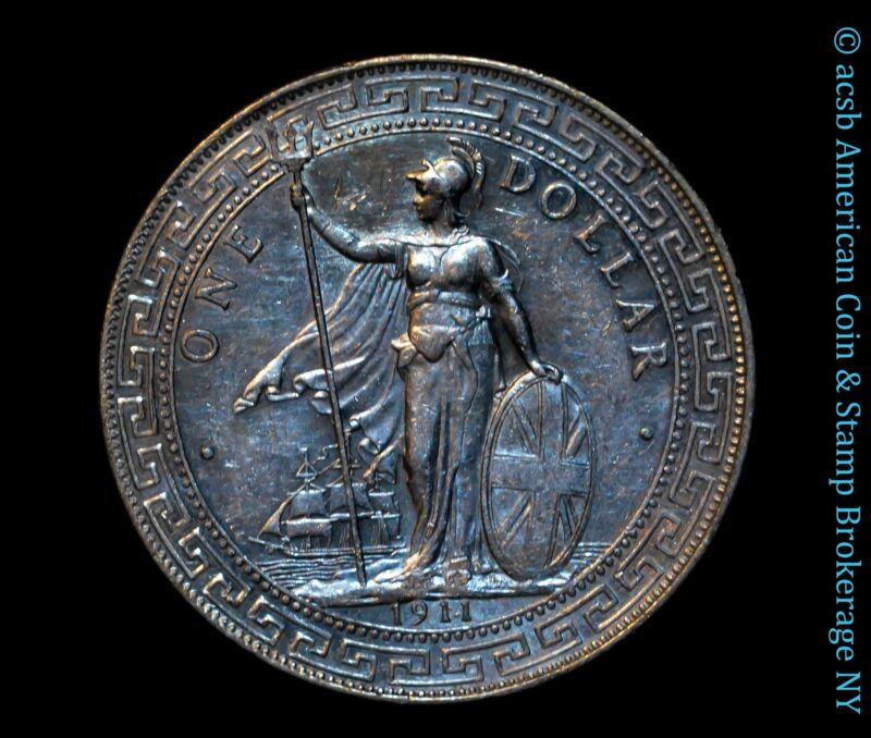 Great Britain 1 Trade Dollar 1911 / 1911 B AU UNC silver KM# T5 Unlisted