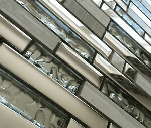 NEW LUXURY SILVER CHROME METAL GLASS & STONE RECTANGLE MOSAIC TILES 8MM RRP £16