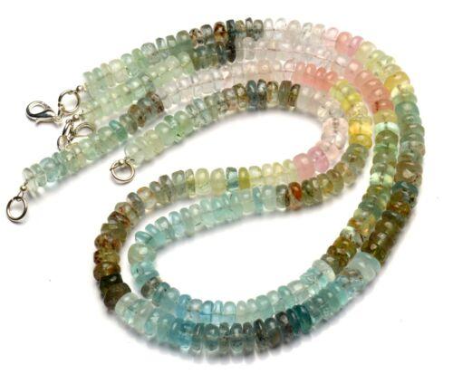 "Natural Gem Multi Color Aquamarine 7.5MM Size Smooth Rondelle Beads Necklace 16"""
