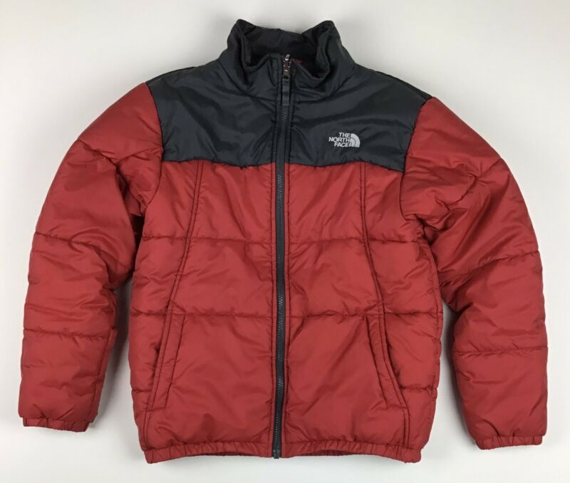 The North Face Puffer Jacket Polyester Filled Boys Large (14-16) Red Gray