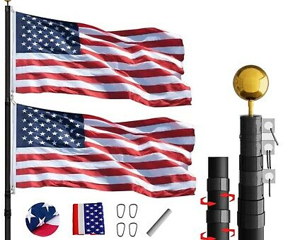 Phantom Black 25FT Flag Pole Kit Residential Telescoping Heavy Duty With US Flag