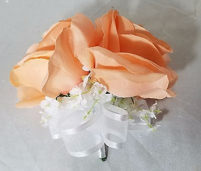 Peach Rose Boutonniere - Peach Sateen Rose Corsage or Boutonniere