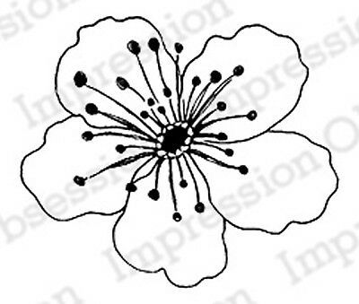 Cherry Blossom Stamps (Single Cherry Blossom, Wood Mounted Rubber Stamp IMPRESSION OBSESSION - C16370 )