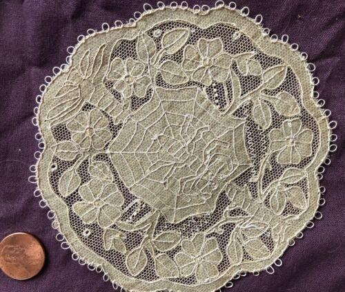 Unusual Carrickmacross lace Spider Arachnid design doily