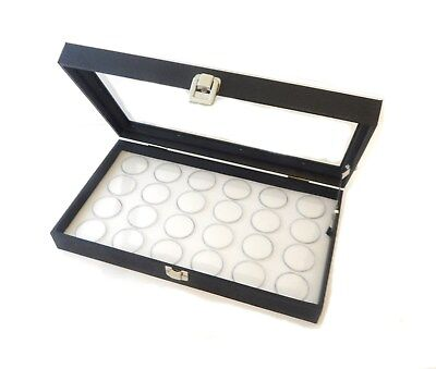 Glass Top 24 Gem White Jar Display Organizer Storage Case With Lid Support