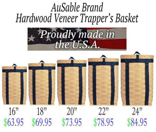 AuSable Brand Hardwood Maple Veneer Trappers Trapping Pack Basket - Adirondack