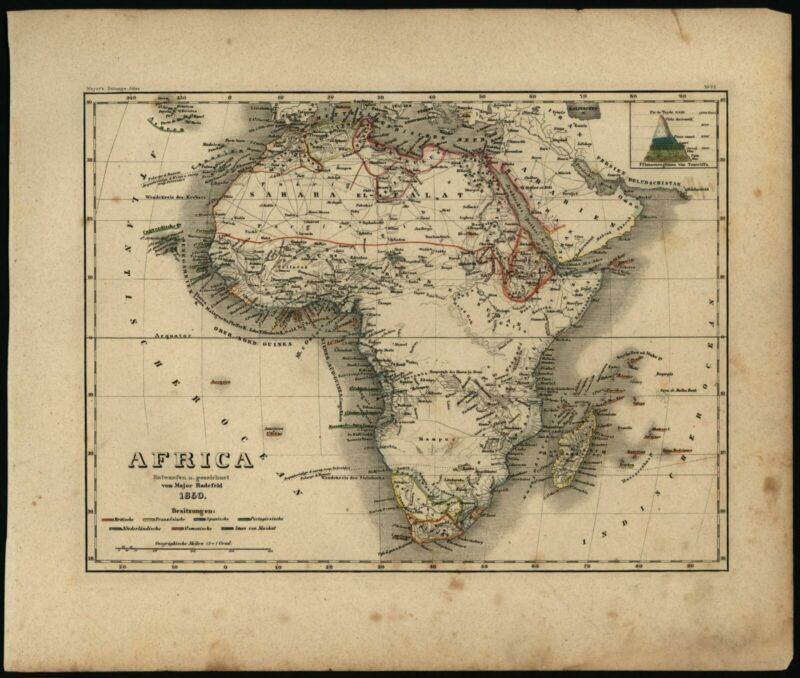 Africa w/ huge fictitious Mts. of the Moon range 1850 Meyer scarce antique map