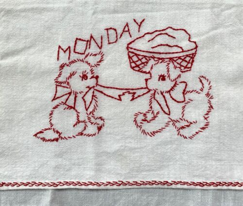 7 antique hand embroidered cotton kitchen towels: charming embroidery, TLC
