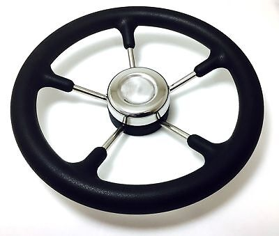 Marine Boat Steering Wheel 5 Spoke Foam Grip Stainless Steel Cap Go Kart Golf