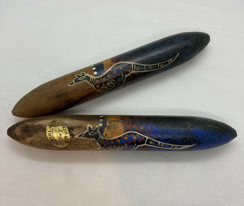 "Set Of 2 Vintage Old Australian Aboriginal Indigenous Dot Art Clap Sticks 8-3/4"""