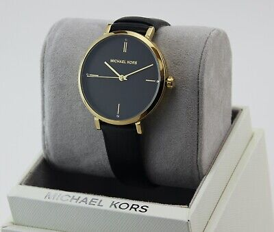 NEW AUTHENTIC MICHAEL KORS JAYNE GOLD BLACK LEATHER WOMEN'S MK7100 WATCH