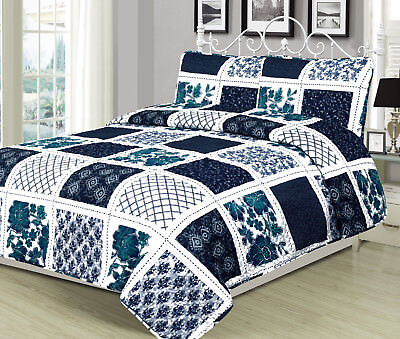Twin, Queen, or King Quilt Patchwork Navy Blue White Teal Bedspread Bedding Set ()